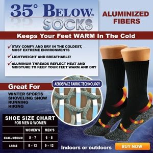 Accessories - 3pr As seen on Tv 35 Below Socks Black Large Thin